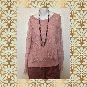 👚Pointelle Mauve Lace Overlay Blouse
